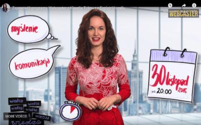 Klaudia Tolman opowiada o Myśleniu Wizualnym w programie Webcaster.pl