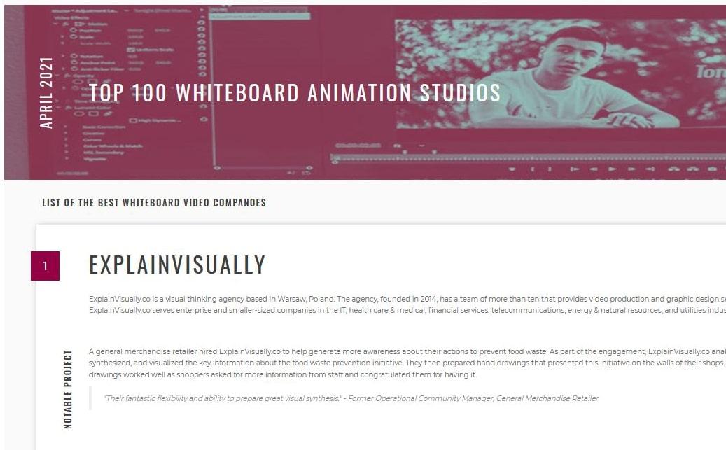 ExplainVisually wybrane najlepszym studiem animacji whiteboardowej w rankingu portalu The Manifest